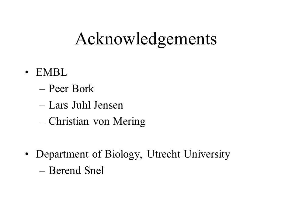 Acknowledgements EMBL –Peer Bork –Lars Juhl Jensen –Christian von Mering Department of Biology, Utrecht University –Berend Snel
