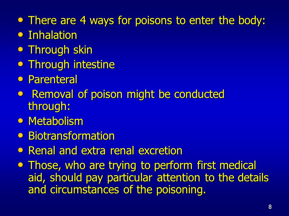 9 Immediate aid in case of poisonings: Immediate aid in case of poisonings: To stop the contact with the poison and usage of adsorbents.