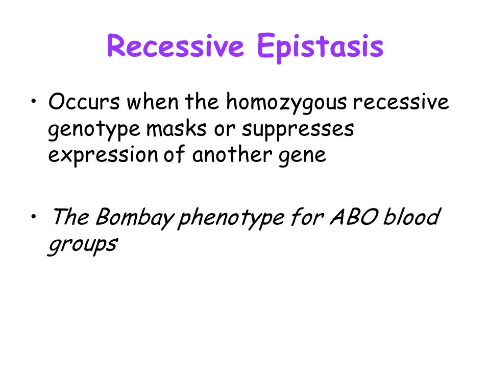 Recessive Epistasis Occurs when the homozygous recessive genotype masks or suppresses expression of another gene The Bombay phenotype for ABO blood gr