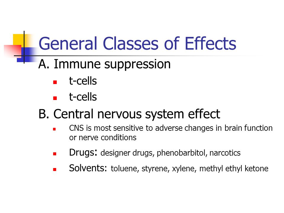General Classes of Effects A. Immune suppression t-cells B.