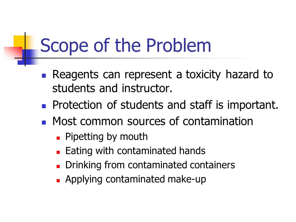 Scope of the Problem Reagents can represent a toxicity hazard to students and instructor.