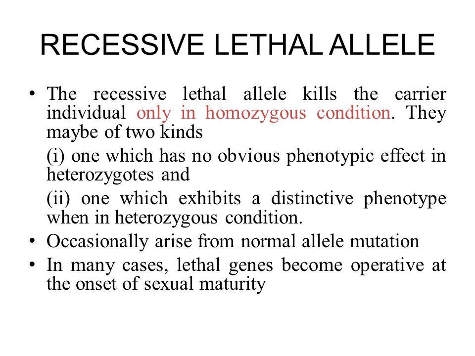 RECESSIVE LETHAL ALLELE The recessive lethal allele kills the carrier individual only in homozygous condition.