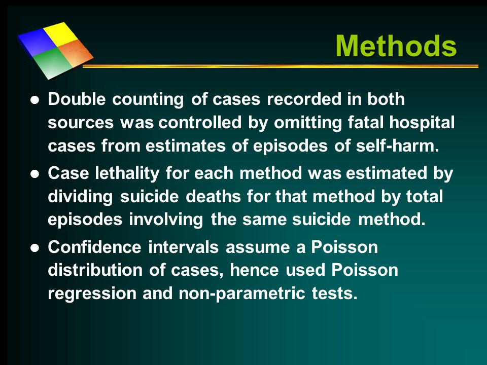 Methods Double counting of cases recorded in both sources was controlled by omitting fatal hospital cases from estimates of episodes of self-harm.