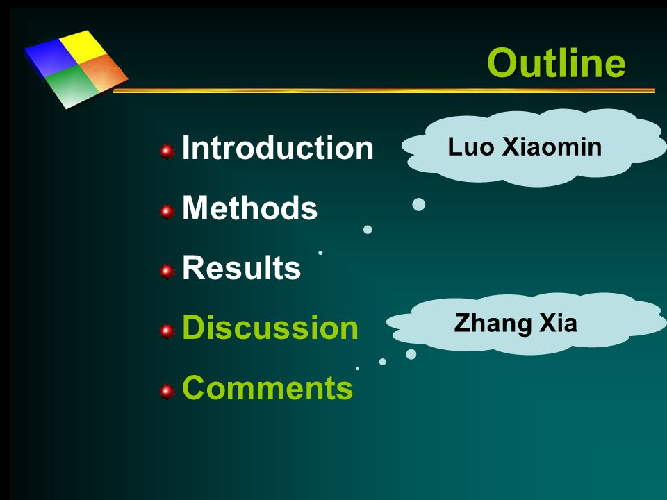Outline Introduction Methods Results Discussion Comments Luo Xiaomin Zhang Xia