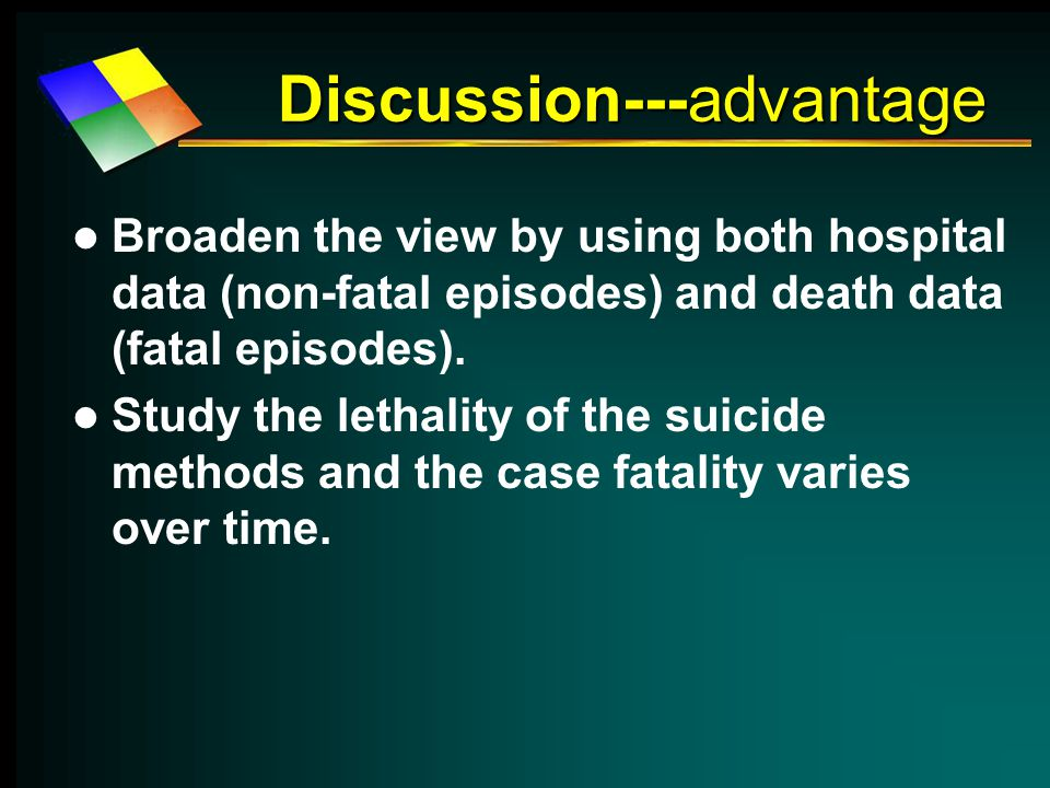 Discussion---advantage Broaden the view by using both hospital data (non-fatal episodes) and death data (fatal episodes).