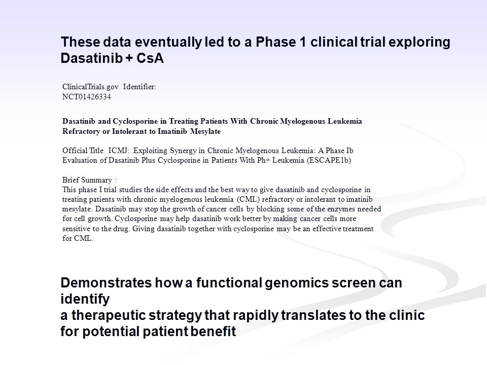 Dasatinib and Cyclosporine in Treating Patients With Chronic Myelogenous Leukemia Refractory or Intolerant to Imatinib Mesylate Official Title ICMJ: Exploiting Synergy in Chronic Myelogenous Leukemia: A Phase Ib Evaluation of Dasatinib Plus Cyclosporine in Patients With Ph+ Leukemia (ESCAPE1b) Brief Summary : This phase I trial studies the side effects and the best way to give dasatinib and cyclosporine in treating patients with chronic myelogenous leukemia (CML) refractory or intolerant to imatinib mesylate.