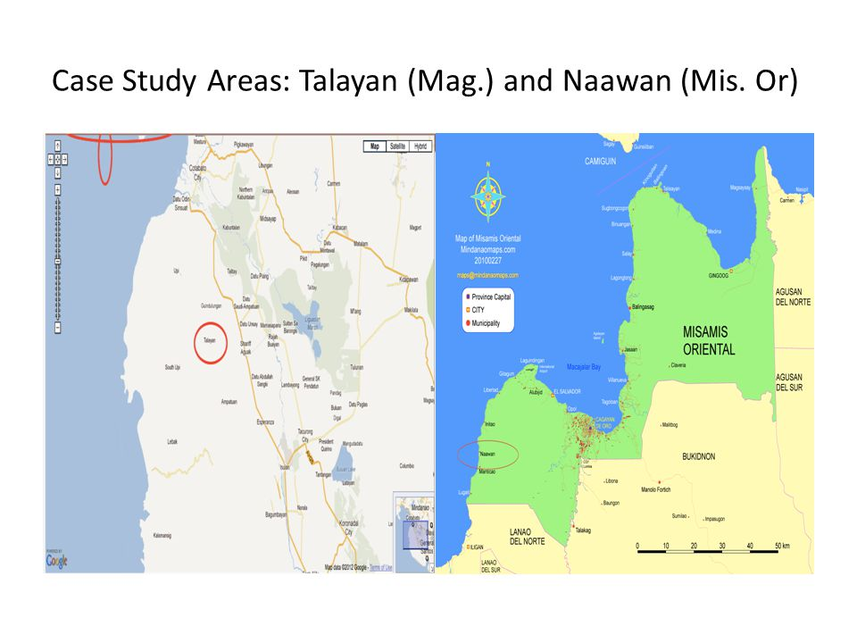 Case Study Areas: Talayan (Mag.) and Naawan (Mis. Or)