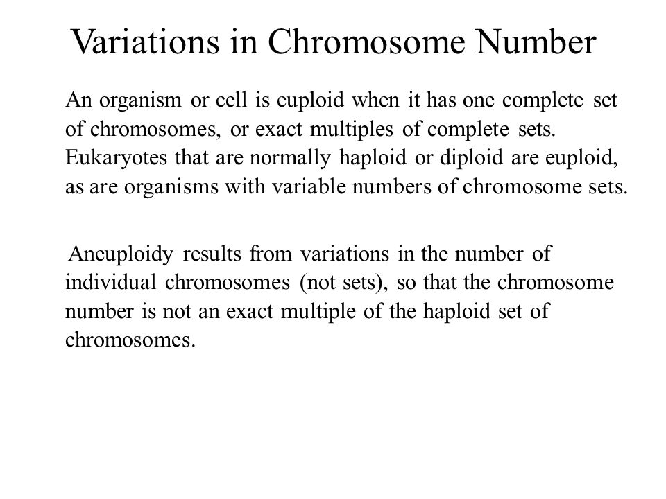 Variations in Chromosome Number An organism or cell is euploid when it has one complete set of chromosomes, or exact multiples of complete sets. Eukar