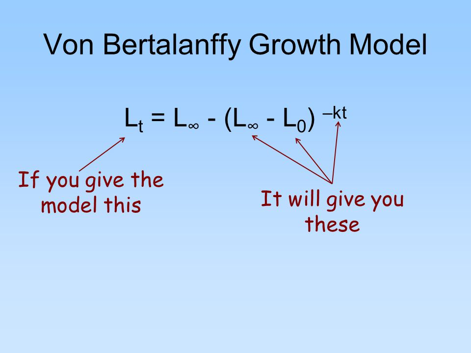 Von Bertalanffy Growth Model L t = L ∞ - (L ∞ - L 0 ) –kt If you give the model this It will give you these