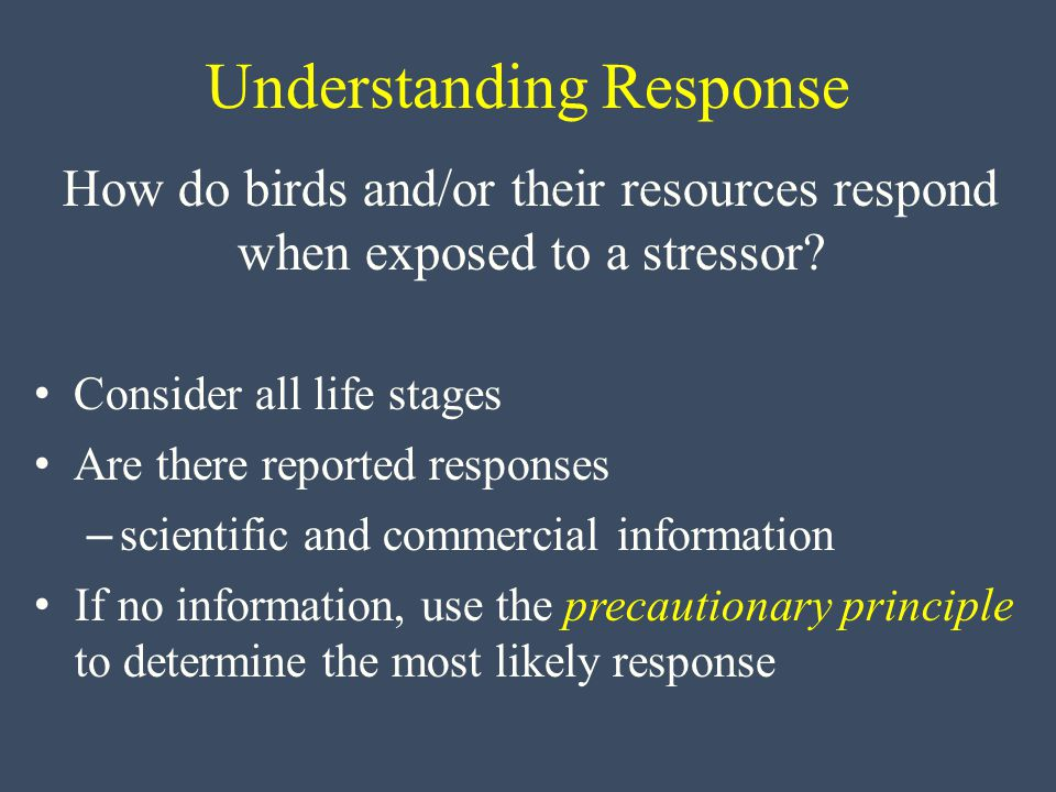 Understanding Response How do birds and/or their resources respond when exposed to a stressor.