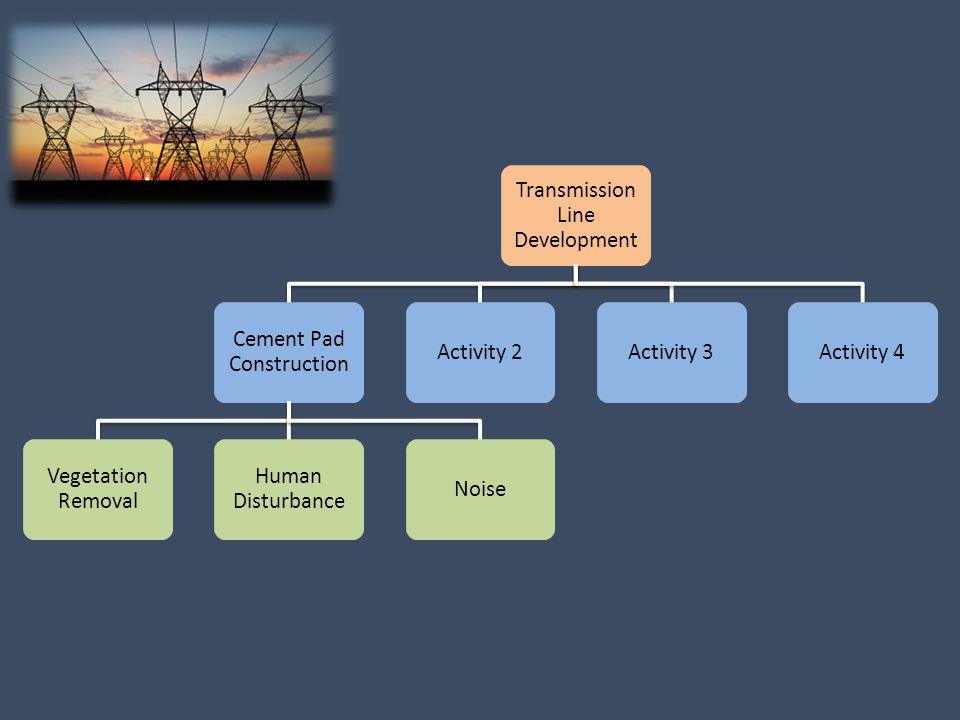 Transmission Line Development Cement Pad Construction Vegetation Removal Human Disturbance NoiseActivity 2Activity 3Activity 4