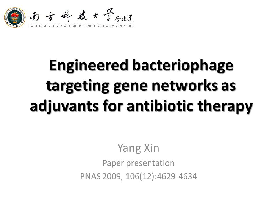 Engineered bacteriophage targeting gene networks as adjuvants for antibiotic therapy Yang Xin Paper presentation PNAS 2009, 106(12):4629-4634