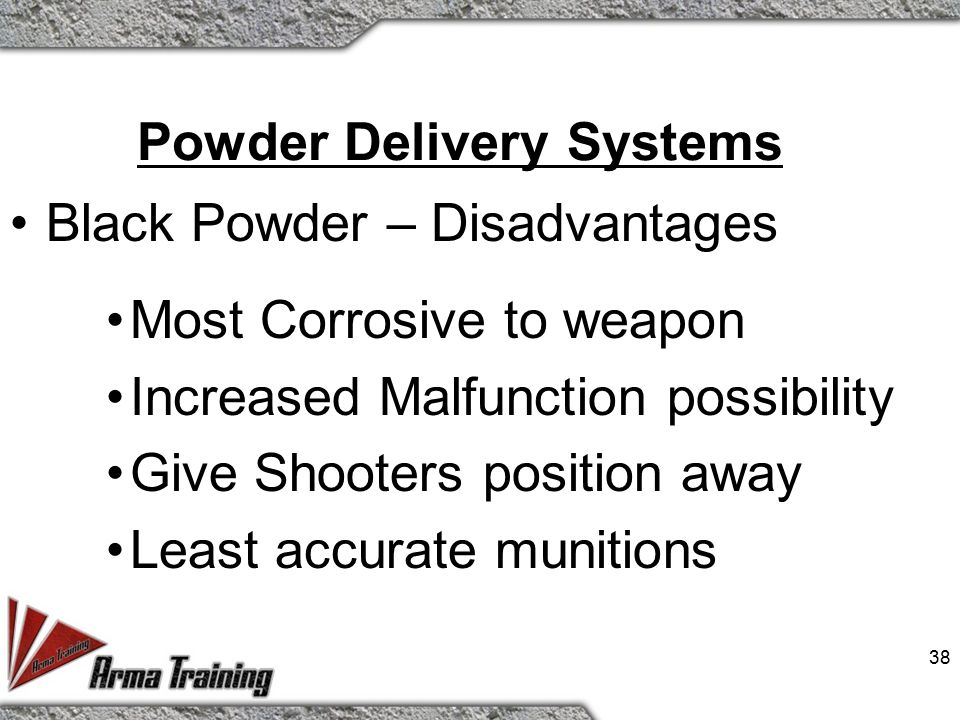 Powder Delivery Systems Black Powder – Advantages Cost Effective More Rounds Available Can ONLY be fired in 37MM 37
