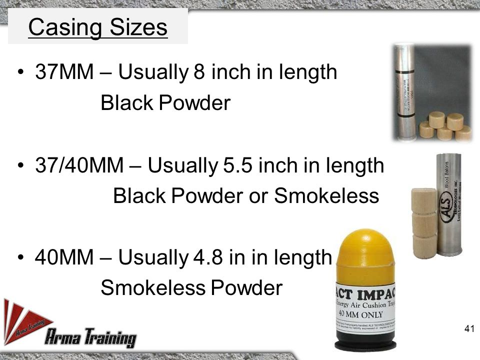 Powder Delivery Systems Smokeless Powder – Disadvantages Most costly munitions 40