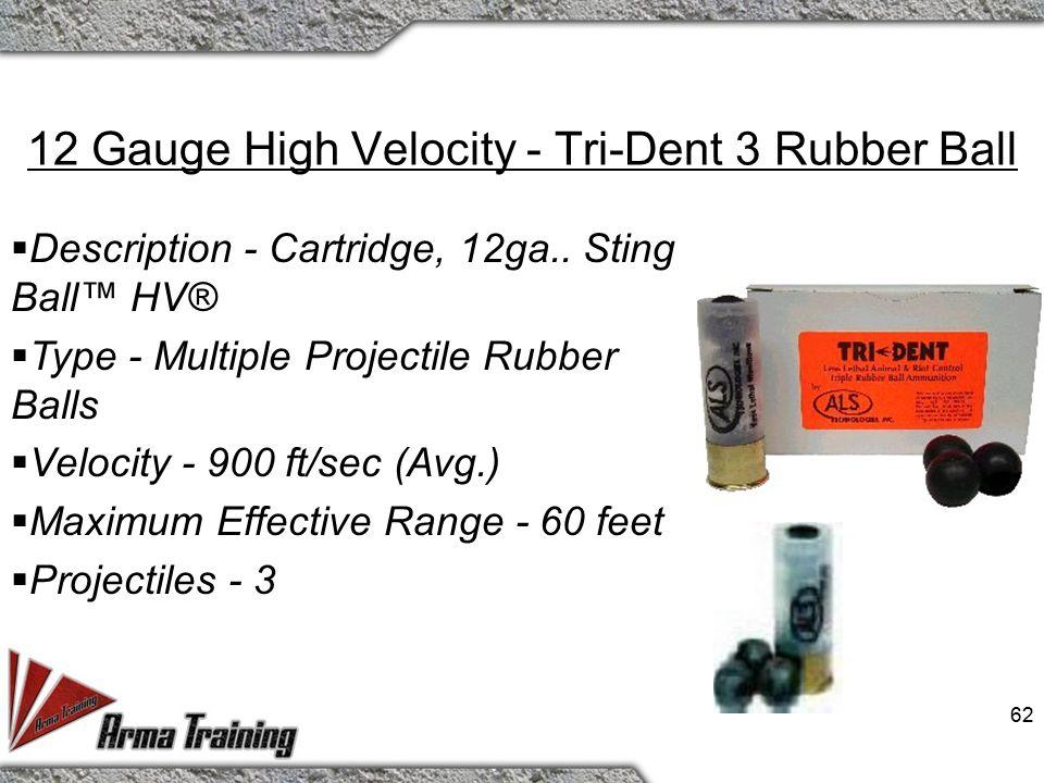 61 12 Gauge High Velocity - Rubber Pellets  Description - Cartridge, 12ga.. Sting Ball™ HV®  Type - Multiple Projectile Rubber Pellets.  Velocity -