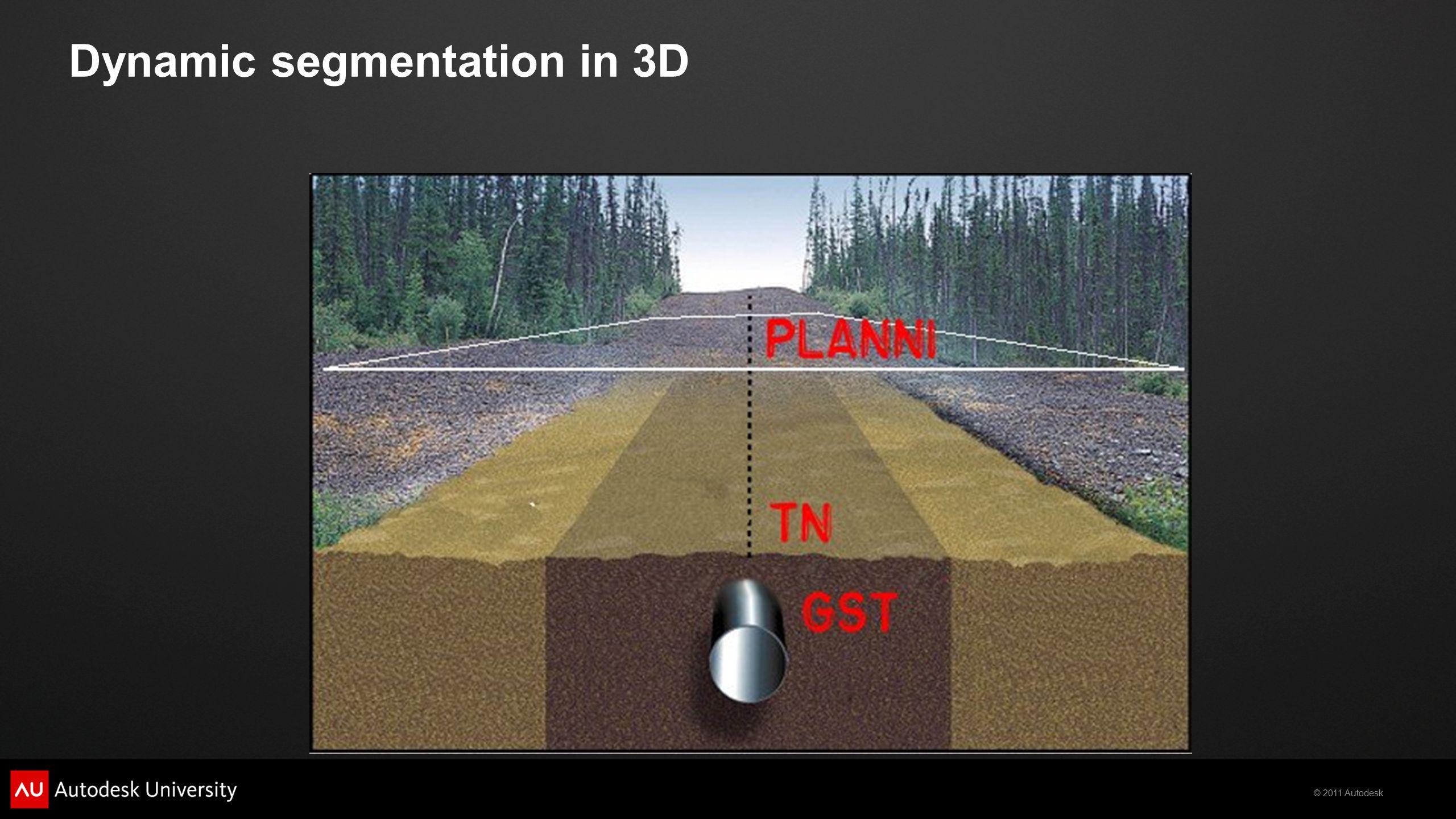 © 2011 Autodesk Dynamic segmentation in 3D