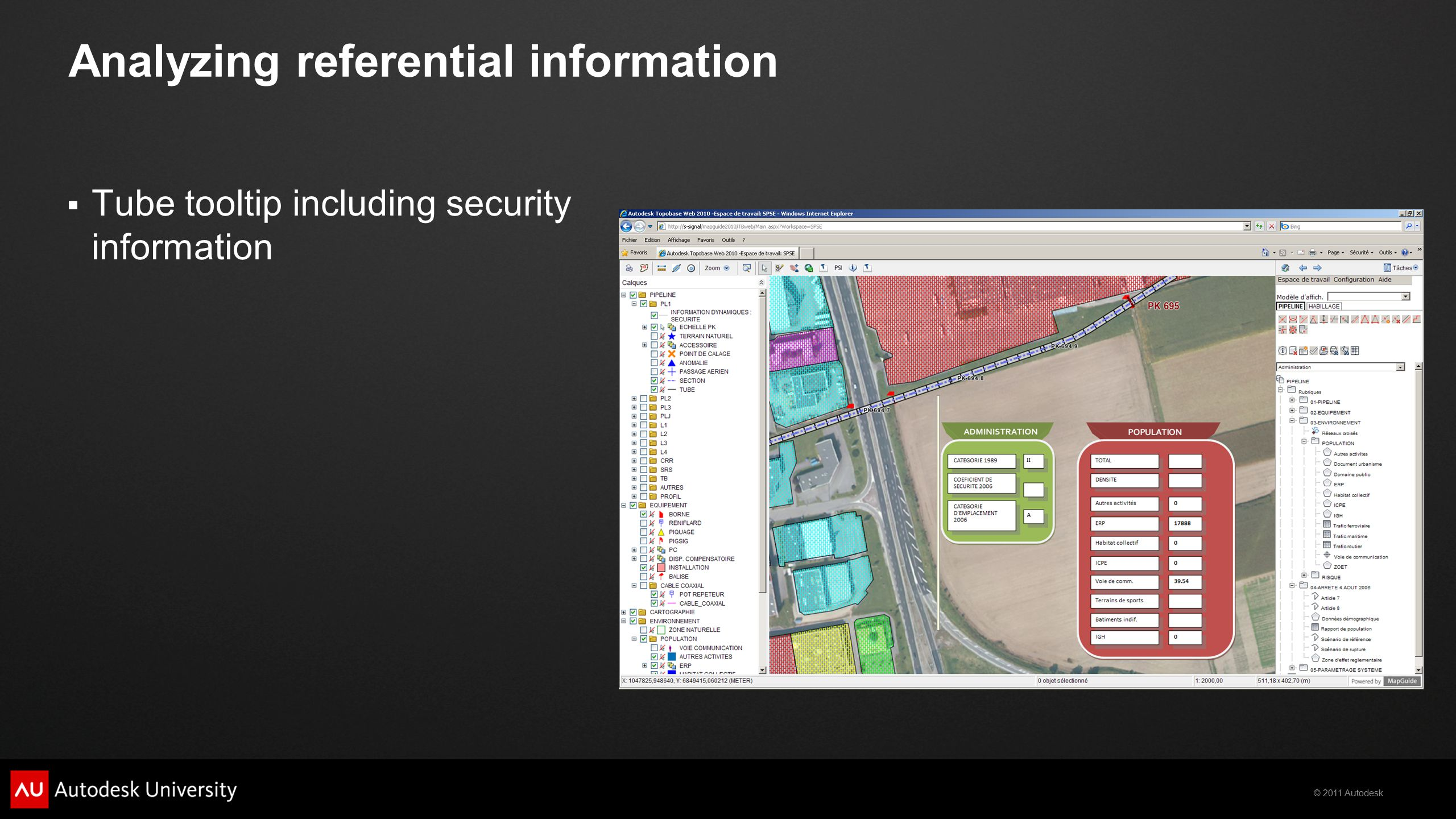 © 2011 Autodesk Analyzing referential information  Tube tooltip including security information