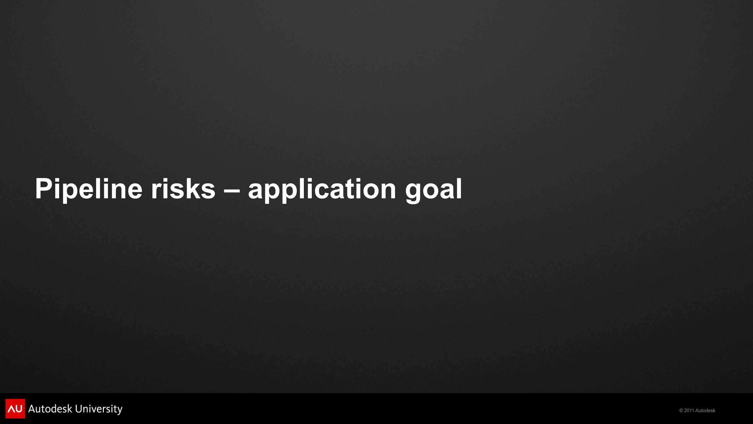 © 2011 Autodesk Pipeline risks – application goal