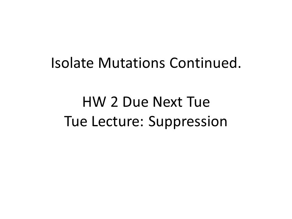 Isolate Mutations Continued. HW 2 Due Next Tue Tue Lecture: Suppression