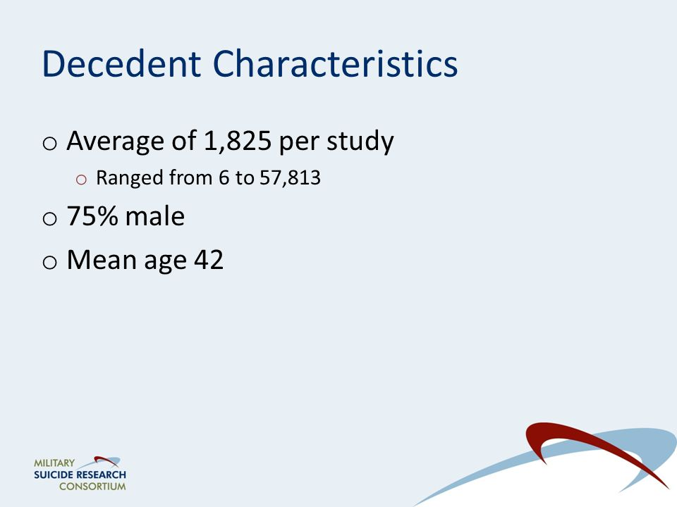 Decedent Characteristics o Average of 1,825 per study o Ranged from 6 to 57,813 o 75% male o Mean age 42