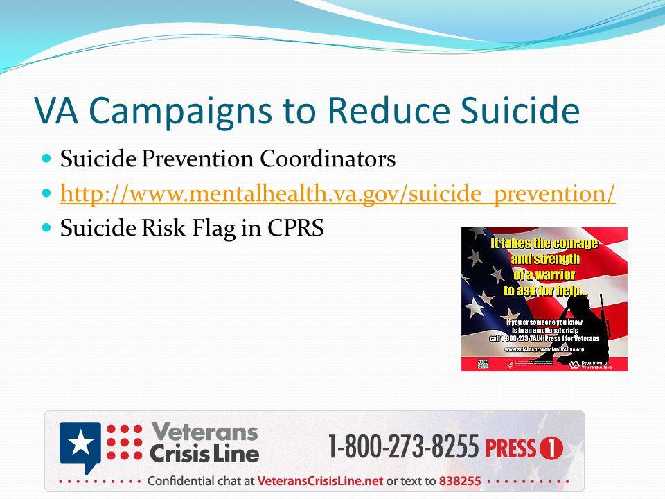 VA Campaigns to Reduce Suicide Suicide Prevention Coordinators http://www.mentalhealth.va.gov/suicide_prevention/ Suicide Risk Flag in CPRS