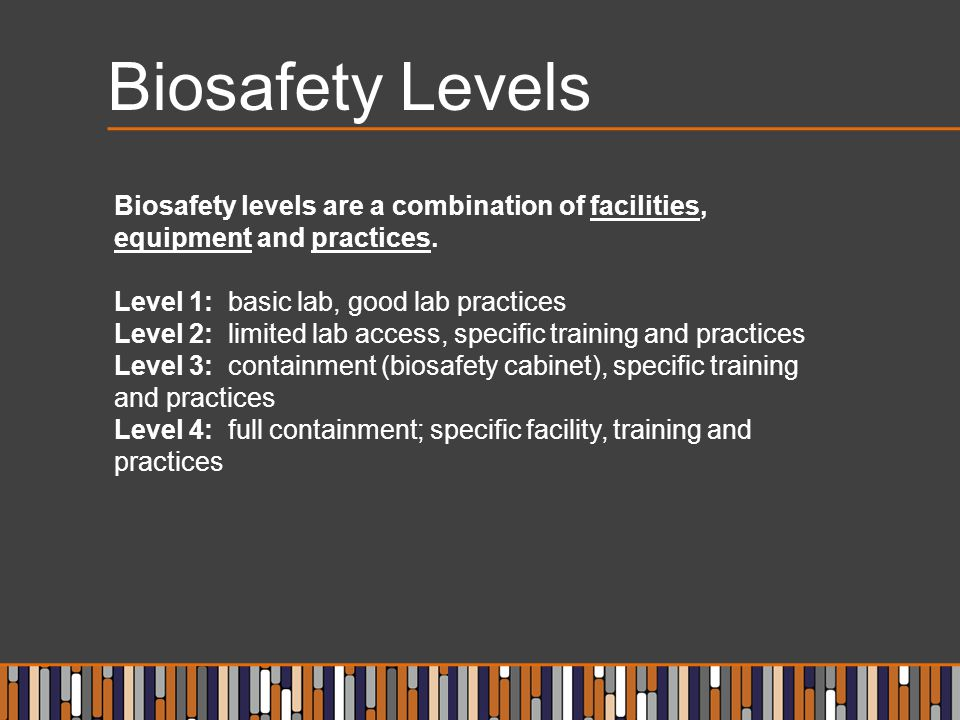 Biosafety Levels Biosafety levels are a combination of facilities, equipment and practices. Level 1: basic lab, good lab practices Level 2: limited la