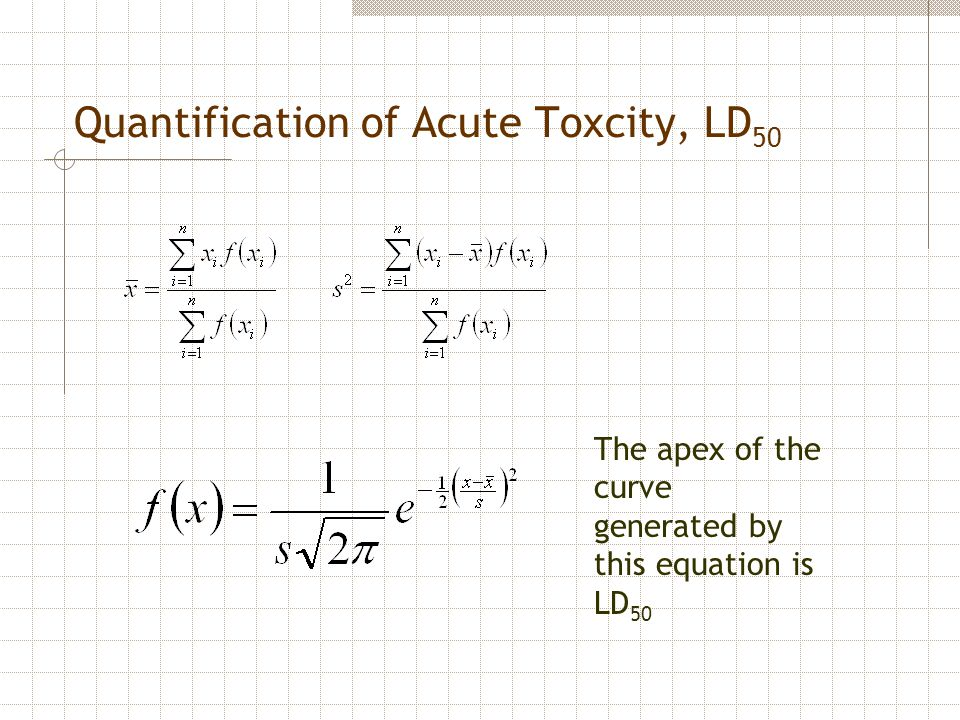 Quantification of Acute Toxcity, LD 50 The apex of the curve generated by this equation is LD 50