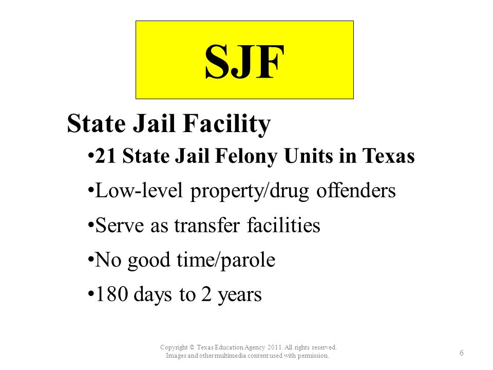 SJF State Jail Facility 21 State Jail Felony Units in Texas 21 State Jail Felony Units in Texas Low-level property/drug offenders Serve as transfer facilities No good time/parole 180 days to 2 years 6 Copyright © Texas Education Agency 2011.