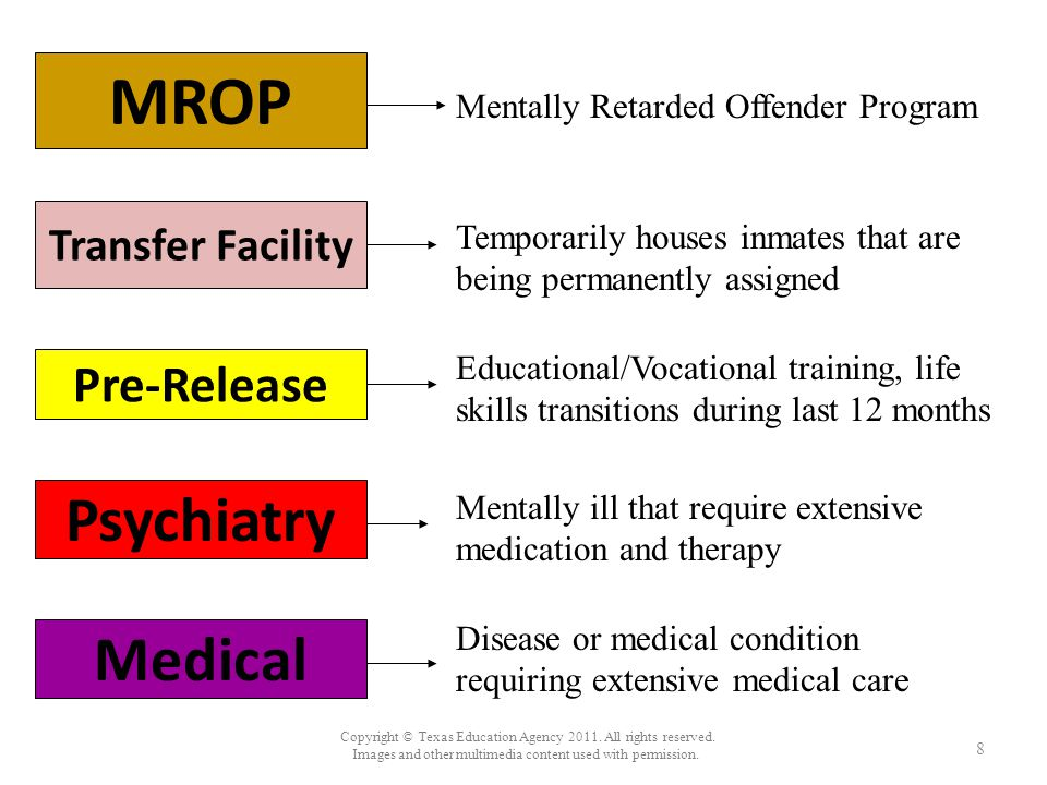 MROP Mentally Retarded Offender Program Transfer Facility Temporarily houses inmates that are being permanently assigned Pre-Release Psychiatry Medica