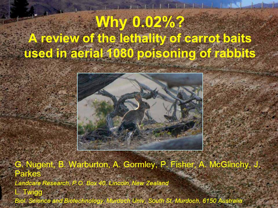 Lethality of rabbit baits Q1: How sensitive to 1080 are rabbits?