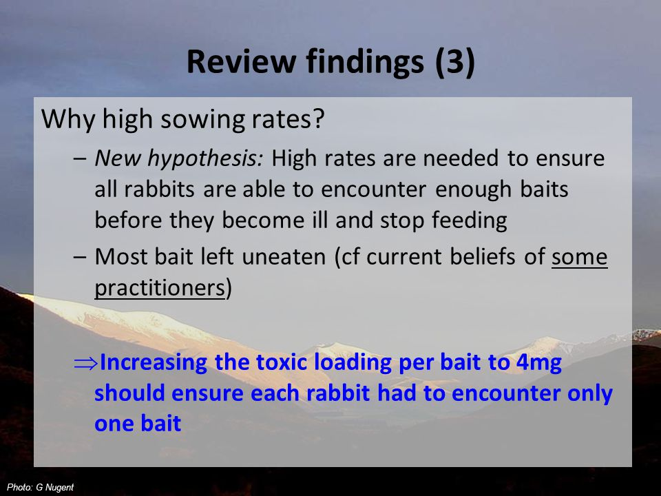 Review findings (3) Why high sowing rates.