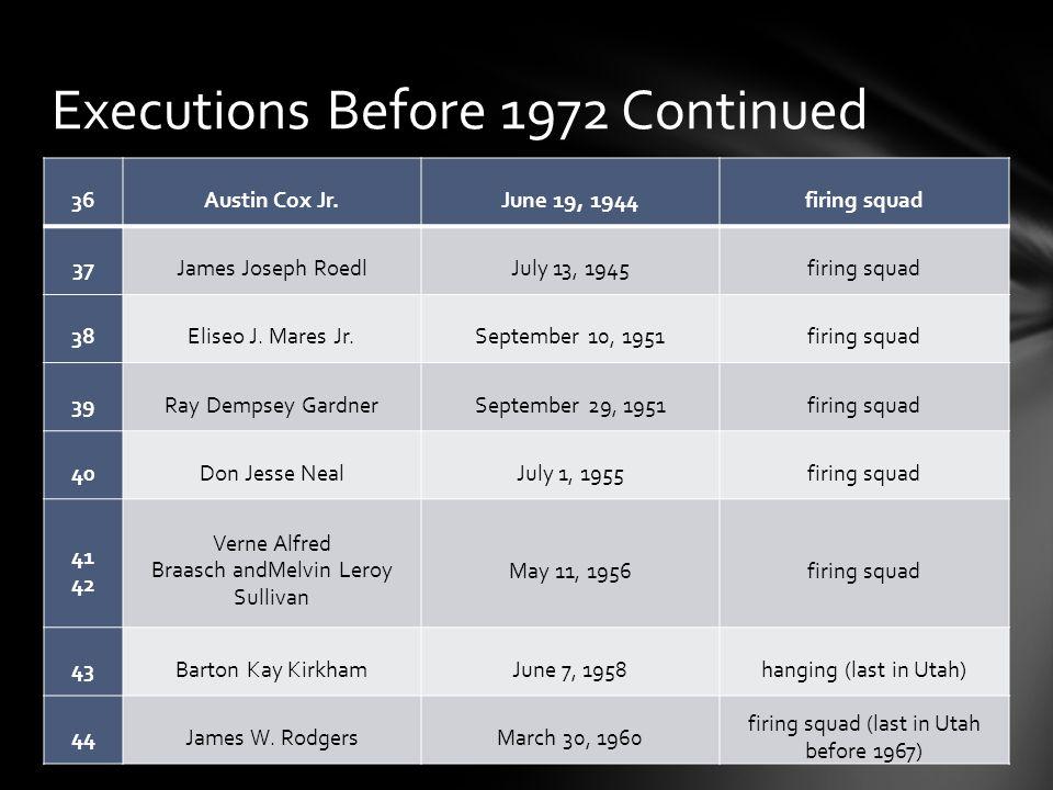 36Austin Cox Jr.June 19, 1944firing squad 37James Joseph RoedlJuly 13, 1945firing squad 38Eliseo J.