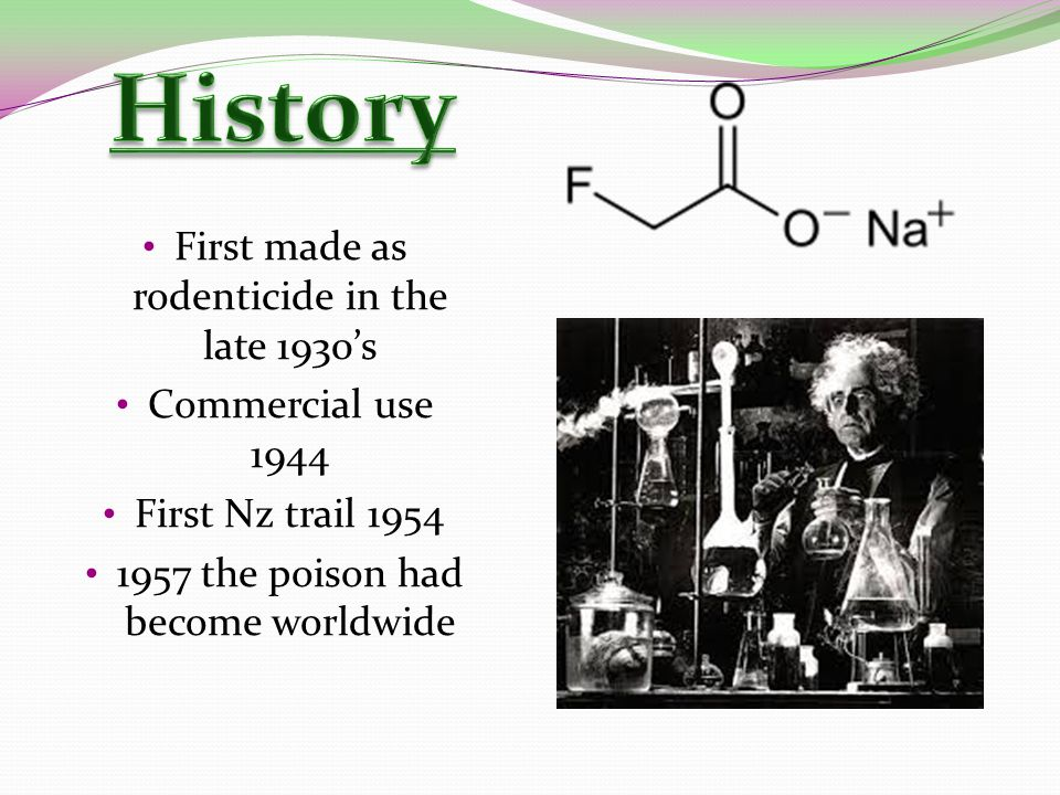 First made as rodenticide in the late 1930's Commercial use 1944 First Nz trail 1954 1957 the poison had become worldwide