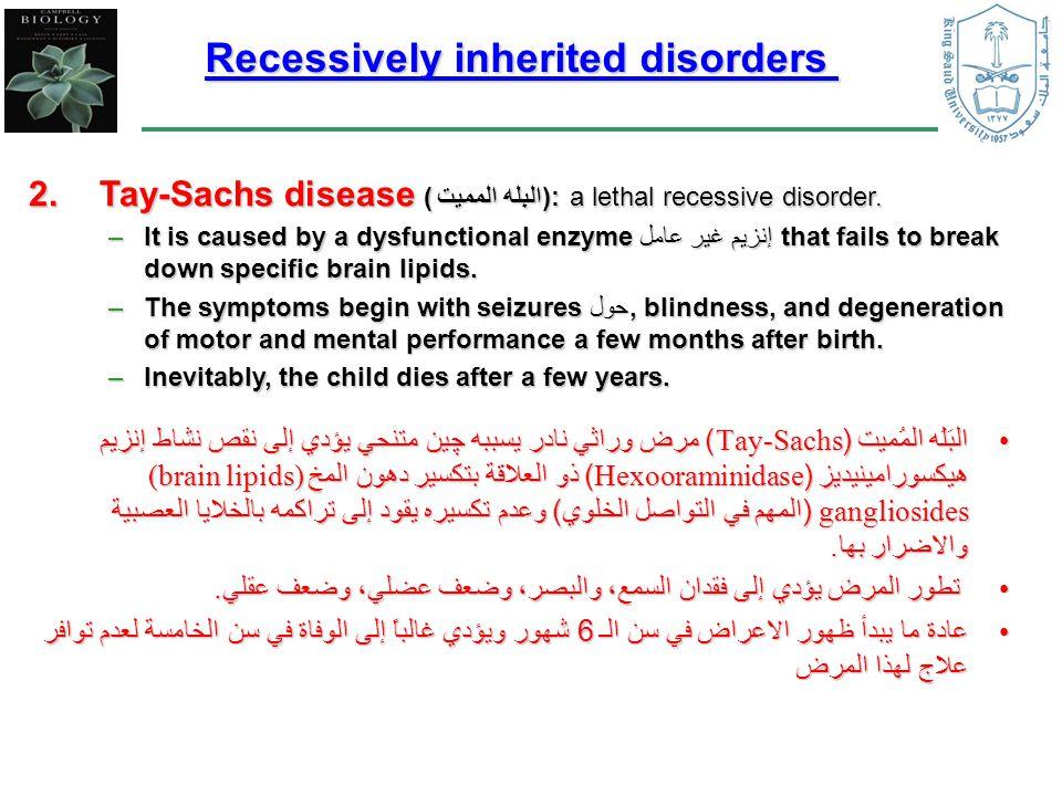 البَلَه المُميت (Tay-Sachs) مرض وراثي نادر يسببه ﭽين متنحي يؤدي إلى نقص نشاط إنزيم هيكسورامينيديز (Hexooraminidase) ذو العلاقة بتكسير دهون المخ (brain lipids) gangliosides (المهم في التواصل الخلوي) وعدم تكسيره يقود إلى تراكمه بالخلايا العصبية والاضرار بها.البَلَه المُميت (Tay-Sachs) مرض وراثي نادر يسببه ﭽين متنحي يؤدي إلى نقص نشاط إنزيم هيكسورامينيديز (Hexooraminidase) ذو العلاقة بتكسير دهون المخ (brain lipids) gangliosides (المهم في التواصل الخلوي) وعدم تكسيره يقود إلى تراكمه بالخلايا العصبية والاضرار بها.