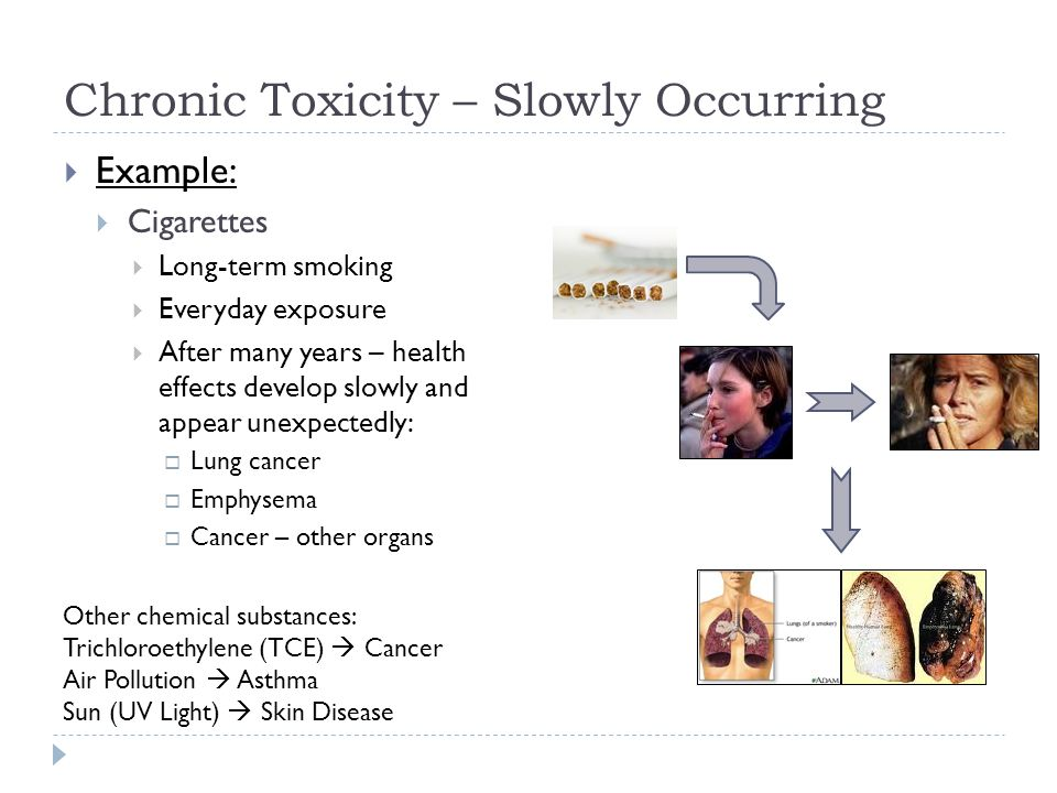 Chronic Toxicity – Slowly Occurring  Example:  Cigarettes  Long-term smoking  Everyday exposure  After many years – health effects develop slowly