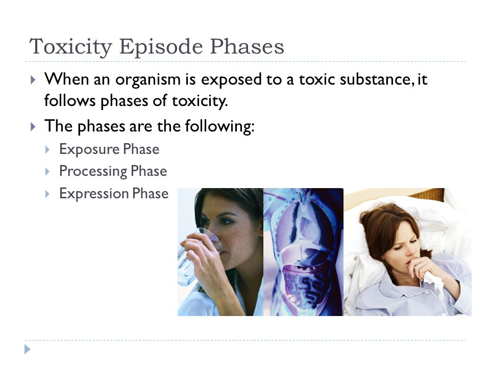 Toxicity Episode Phases  When an organism is exposed to a toxic substance, it follows phases of toxicity.  The phases are the following:  Exposure
