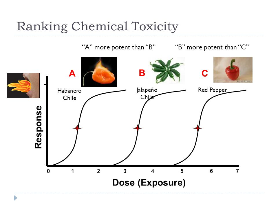 "Ranking Chemical Toxicity Dose (Exposure) Response 0 1 2 3 4 5 6 7 ""A"" more potent than ""B""""B"" more potent than ""C"" A Habanero Chile B Jalapeño Chile"