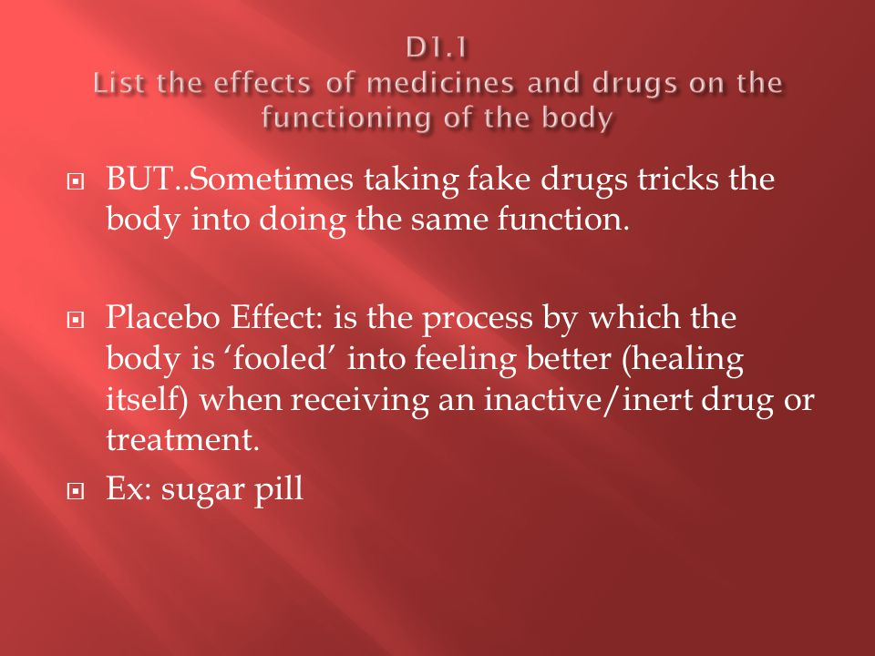  Types of drugs: Description Type of drug Drugs that target the nervous system, the brain and the perception of stimuli Analgesics, stimulants and depressants Drugs that target the metabolic process Antacids Drugs that supplement the body's natural ability to fight disease-causing organisms Antibacterials and antivirals