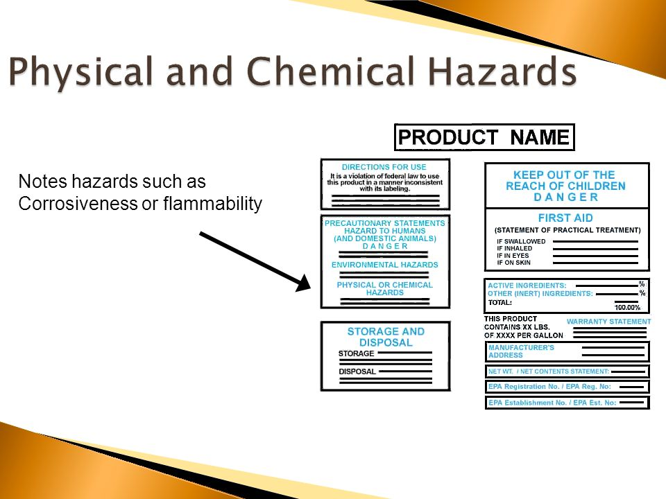 Notes hazards such as Corrosiveness or flammability