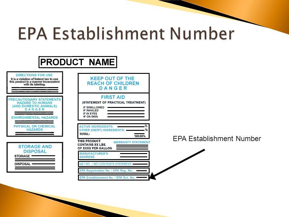 EPA Establishment Number