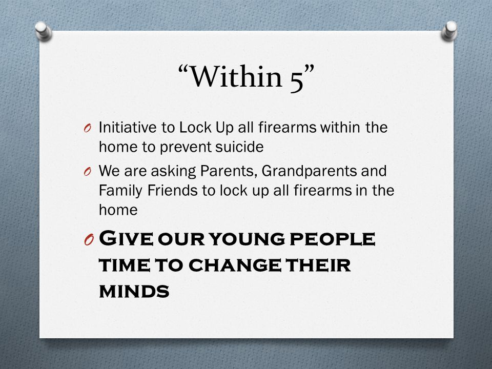 Within 5 O Initiative to Lock Up all firearms within the home to prevent suicide O We are asking Parents, Grandparents and Family Friends to lock up all firearms in the home O Give our young people time to change their minds