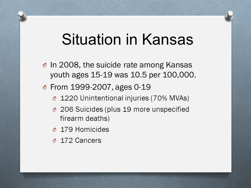 Situation in Kansas O In 2008, the suicide rate among Kansas youth ages 15-19 was 10.5 per 100,000.