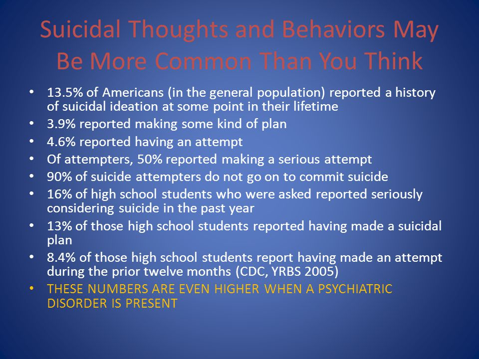 Suicidal Thoughts and Behaviors May Be More Common Than You Think 13.5% of Americans (in the general population) reported a history of suicidal ideati