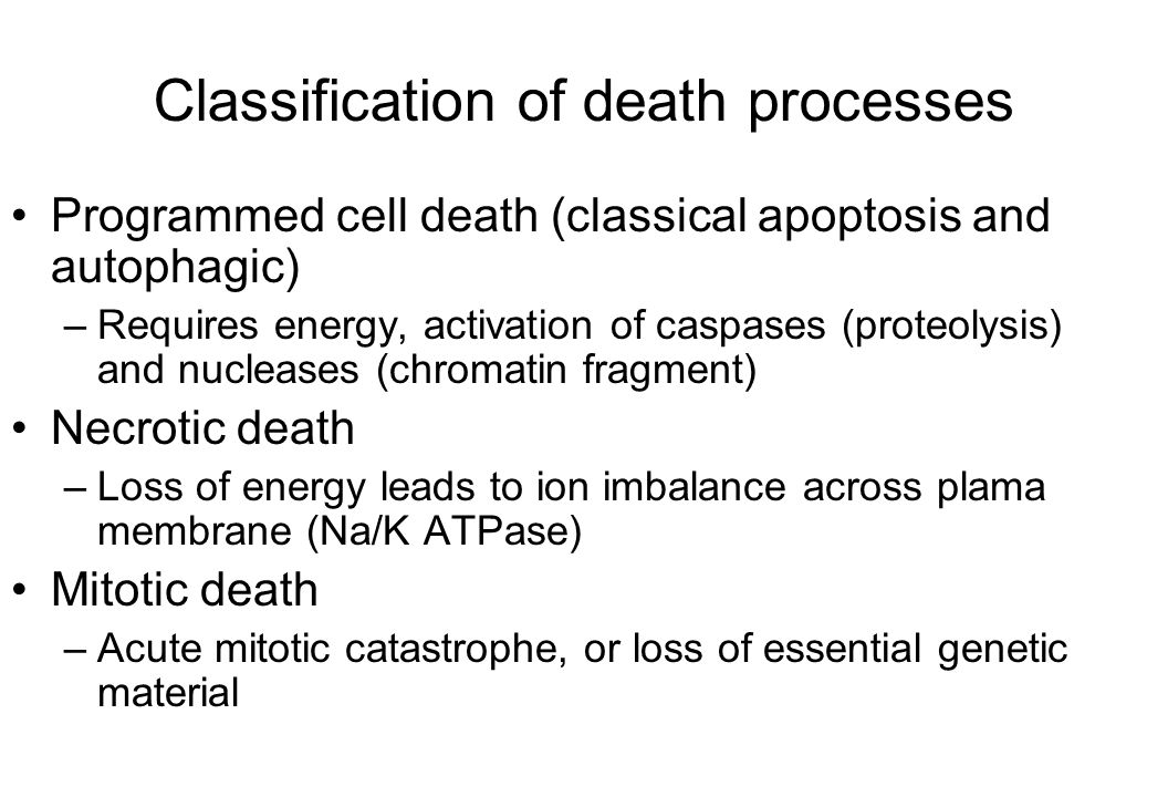 Tumor cell reproductive death (Clonogenic death) Fraction of Cells Unable to Grow = Fraction that Apoptose + Fraction that undergo autophagy + Fraction that undergo mitotic catastrophy + Fraction that enter permanent senescence + Fraction that suffer late mitotic death + Fraction that get lethal bystander damage