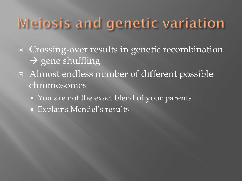  Crossing-over results in genetic recombination  gene shuffling  Almost endless number of different possible chromosomes  You are not the exact blend of your parents  Explains Mendel's results