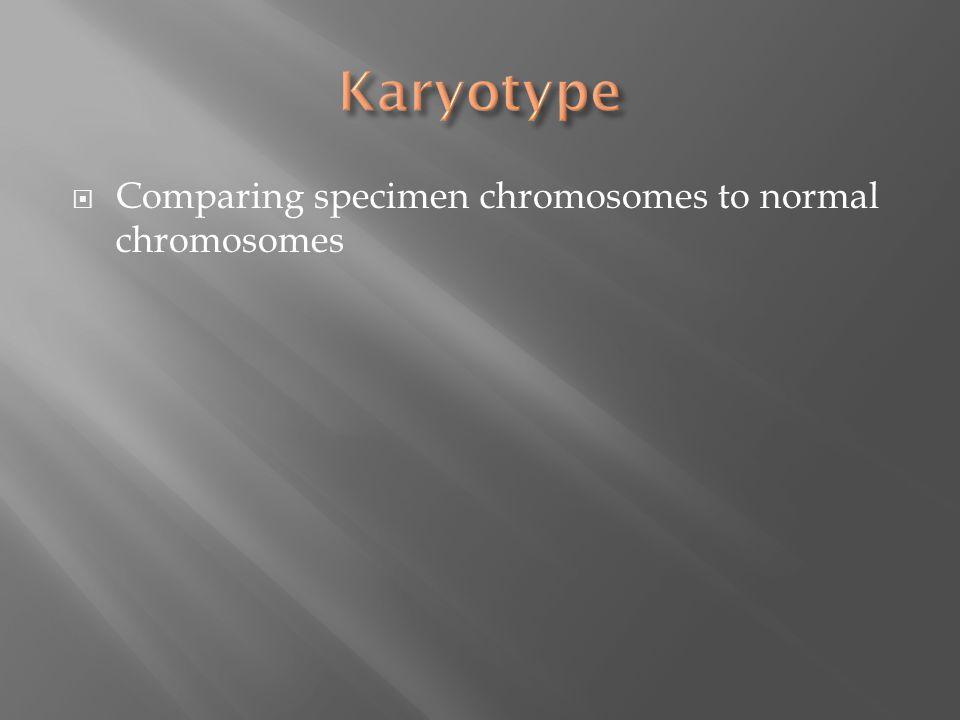  Comparing specimen chromosomes to normal chromosomes