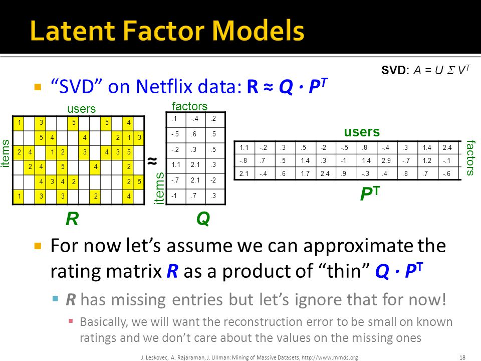  SVD on Netflix data: R ≈ Q · P T  For now let's assume we can approximate the rating matrix R as a product of thin Q · P T  R has missing entries but let's ignore that for now.