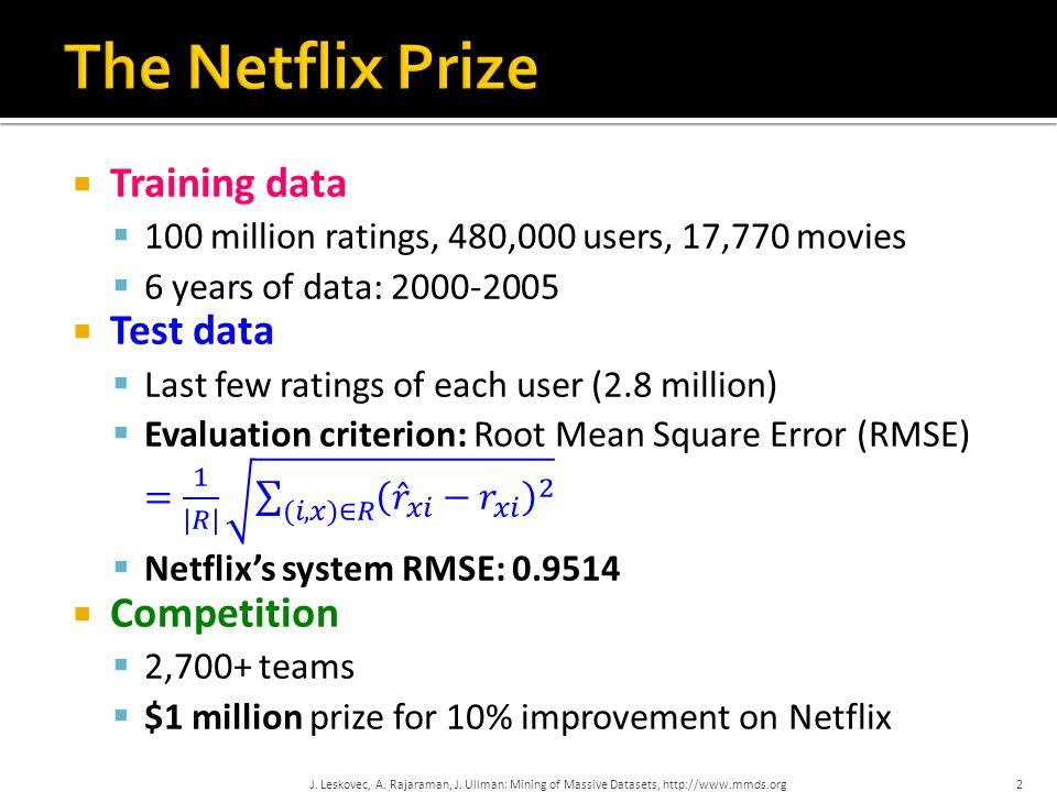 J. Leskovec, A. Rajaraman, J. Ullman: Mining of Massive Datasets, http://www.mmds.org2