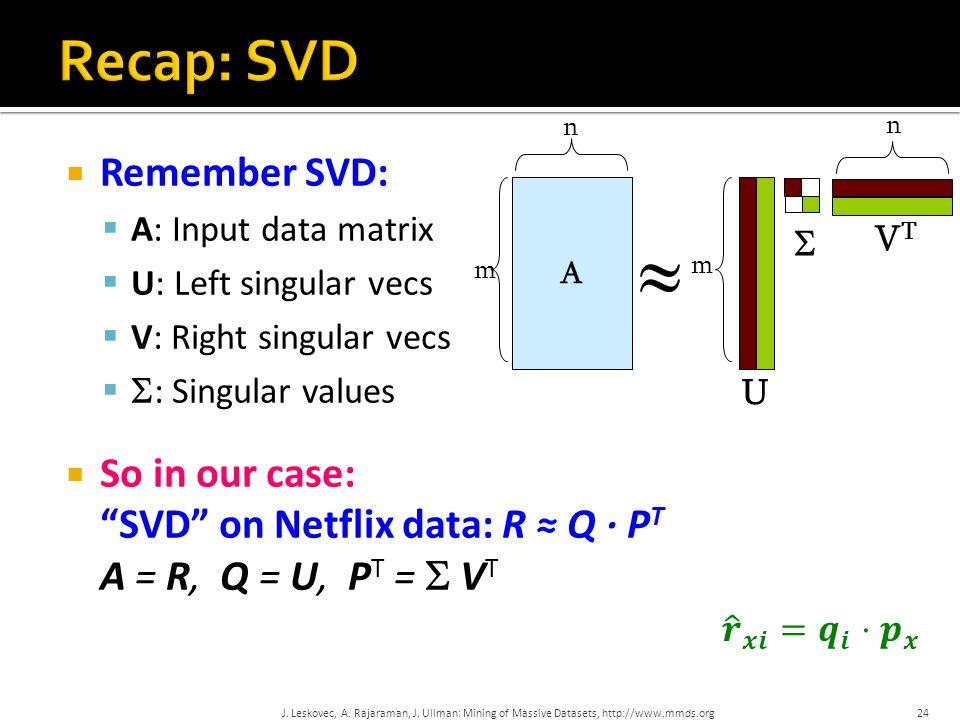  Remember SVD:  A: Input data matrix  U: Left singular vecs  V: Right singular vecs   : Singular values  So in our case: SVD on Netflix data: R ≈ Q · P T A = R, Q = U, P T =  V T A m n  m n VTVT  24 U J.