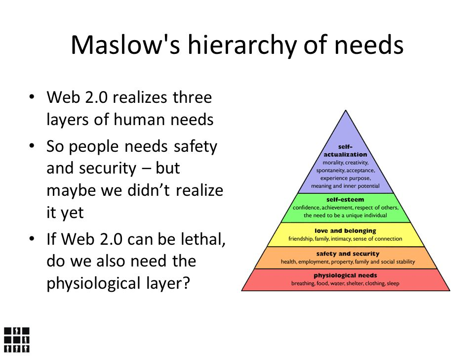 Maslow s hierarchy of needs Web 2.0 realizes three layers of human needs So people needs safety and security – but maybe we didn't realize it yet If Web 2.0 can be lethal, do we also need the physiological layer